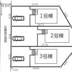 新潟市西区五十嵐1の町の新築住宅の配置図