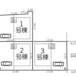 新潟市北区松浜の新築住宅の配置図