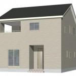 新潟市東区牡丹山の新築住宅の1号棟外観パース