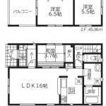 新潟市西区五十嵐1の町の新築住宅【1号棟】の間取図