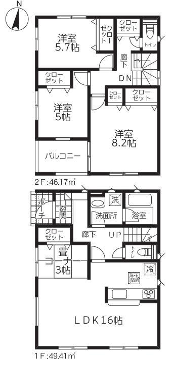 新潟市北区松浜の新築住宅【1号棟】の間取図
