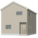 新潟市西区寺尾台の新築住宅の2号棟外観パース