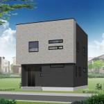 新潟市中央区女池の新築住宅【B棟】の外観完成予定パース
