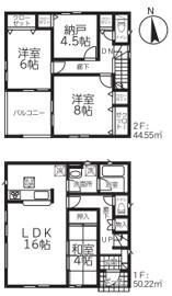 新潟市江南区横越東町の新築住宅(1号棟)の間取図