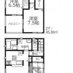 新潟市西区新通西の【新築住宅《全2棟》】の1号棟間取図