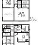 新潟市江南区横越東町の新築住宅(2号棟)の間取図