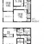 新潟市西区新通西の【新築住宅《全2棟》】の2号棟間取図