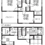 新潟市西区寺尾台の新築住宅2号棟の間取図