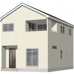 新潟市西区五十嵐1の町の新築住宅【1号棟】の外観完成予定パース