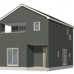 新潟市西区寺尾台の新築住宅の1号棟外観パース