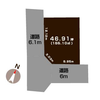 新潟市東区下場新町の土地の敷地図