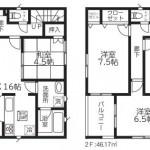北区東栄町の新築住宅《1号棟》の間取り図