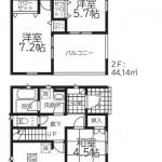 江南区横越上町の【新築住宅《全2号棟》】の2号棟間取図