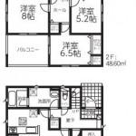五泉市駅前の新築住宅【2号棟】の間取図