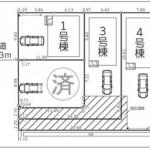 新潟市北区東栄町の新築住宅《全4棟》の配置図