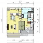 五泉市三本木の土地の建物プラン例の1階間取図