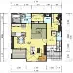 五泉市三本木の土地の建物プラン例2の1階間取図
