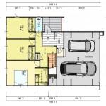 五泉市三本木の土地の建物プラン例3の1階間取図