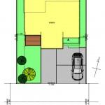 五泉市三本木の土地の建物プラン例2の配置図