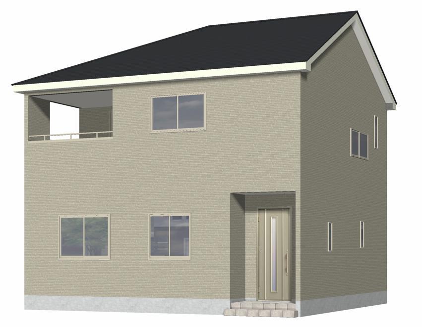 新潟市北区松浜新町の新築住宅【1号棟】の外観完成予定パース
