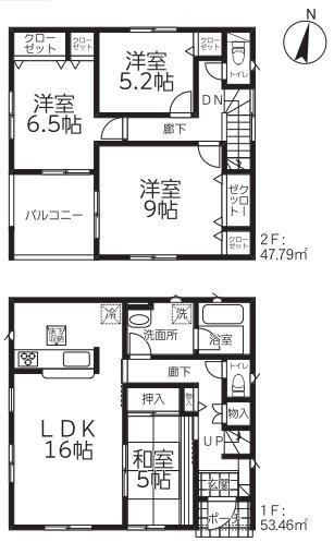 新潟市北区松浜新町の新築住宅【1号棟】の間取図