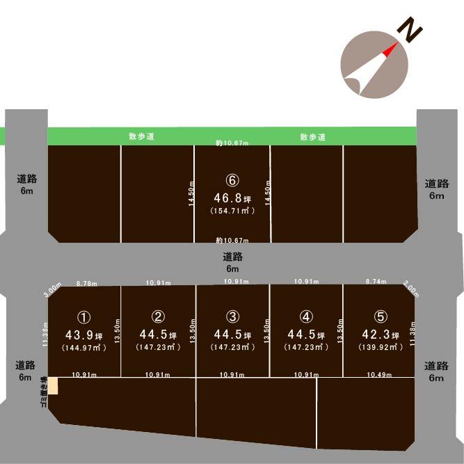 新発田市荒町清水台【全6区画】の土地の敷地図