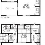 新潟市江南区五月町の新築住宅【2号棟】の間取図