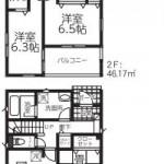 新潟市南区白根の新築住宅2号棟の間取図
