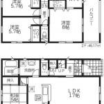 阿賀野市緑岡の新築住宅2号棟の間取図