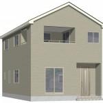 阿賀野市緑岡の新築住宅1号棟の外観完成予定パース