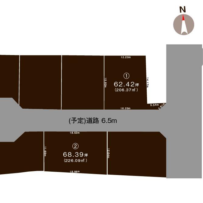 上越市東本町3丁目【全2区画】の土地の敷地図